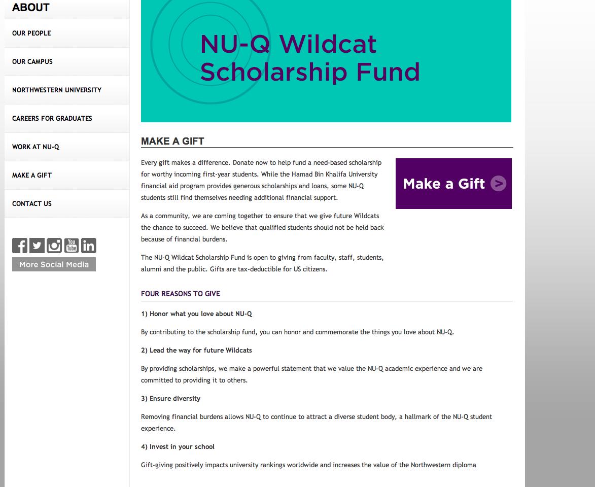 Screenshot of the NU-Q Wildcat Scholarship Fund on NU-Q Website