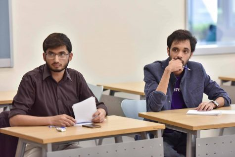 NU-Q students Zain Minhas and Erzum Naqvi at first QUDL 2016 [QatarDebate]
