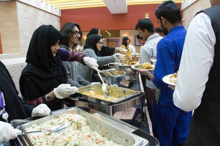 """""""The security, custodial, maintenance, and office staff work hard to make our lives better, and this event gives us the chance to show them how much we appreciate their work,"""" said Greg Bergida, director Student Affairs at Northwestern University in Qatar."""