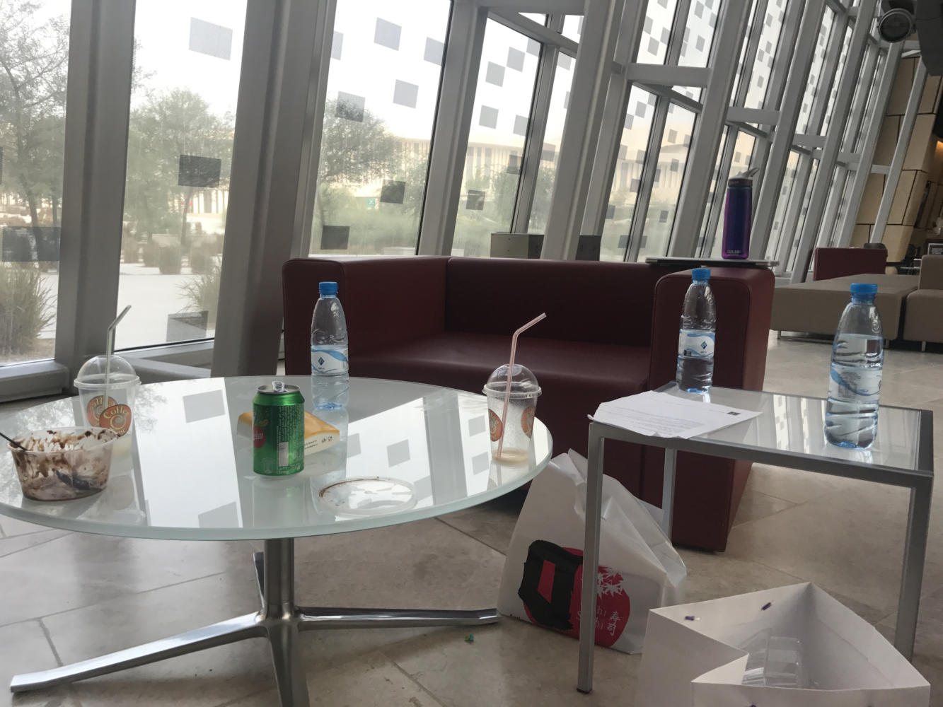 Undisposed garbage in the NU-Q building. Photo by Lolwa Al-Thani.