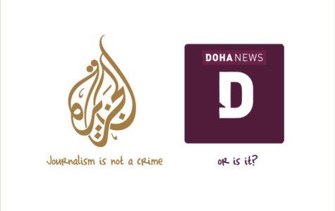 A cartoon by Qatar-based political cartoonist Khalid Al Baih following the blocking of Doha News.