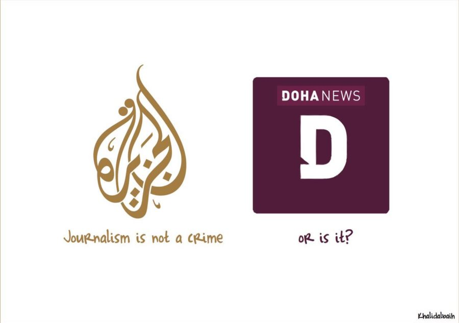 A cartoon by Qatar-based political cartoonist Khalid Al Baih following the blocking of Doha News.