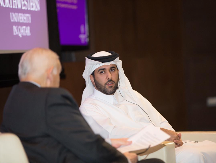 Sheikh Saif bin Ahmed Al Thani, director of Qatar's government communications office, at a community event at Northwestern University in Qatar on Nov. 15. Photo provided by NU-Q