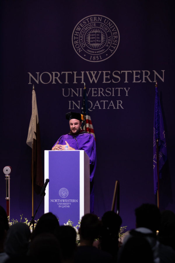 Jordon+Horowitz+delivering+his+speech+at+Convocation.+Photo+provided+by+Northwestern+University+in+Qatar.