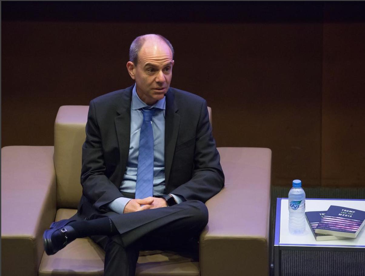Pablo J. Boczkowski speaking at Northwestern University in Qatar. Photo credits: NU-Q Instagram.