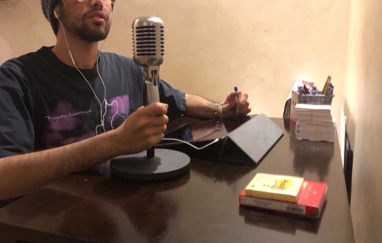 Hamad AlFayhani recording an episode for his podcast,