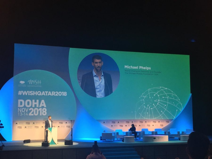 Michael Phelps gives his keynote address at World Innovation Summit for Health. Photo by Inaara Gangji.