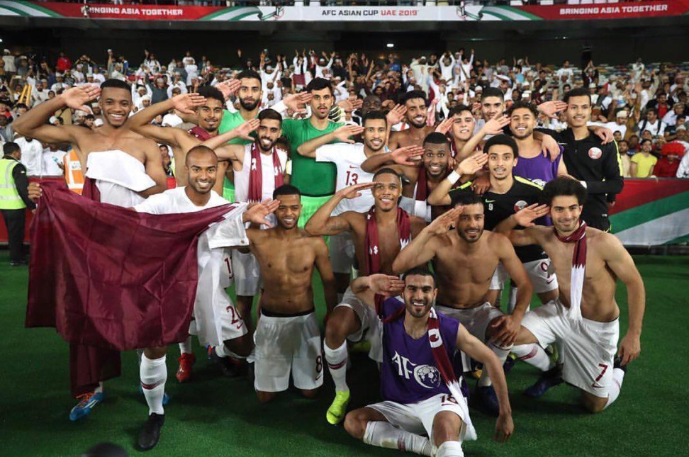 Qatar's National Football Team celebrate their win after the game. Picture source: AliBinHamad_ via Twitter.