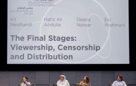 Irit Neidhardt, Hafiz Ali Abdulla, Deana Nassar, and Eki Rrahmani at the panel discussion. Photo credit: Media Majlis Facebook.