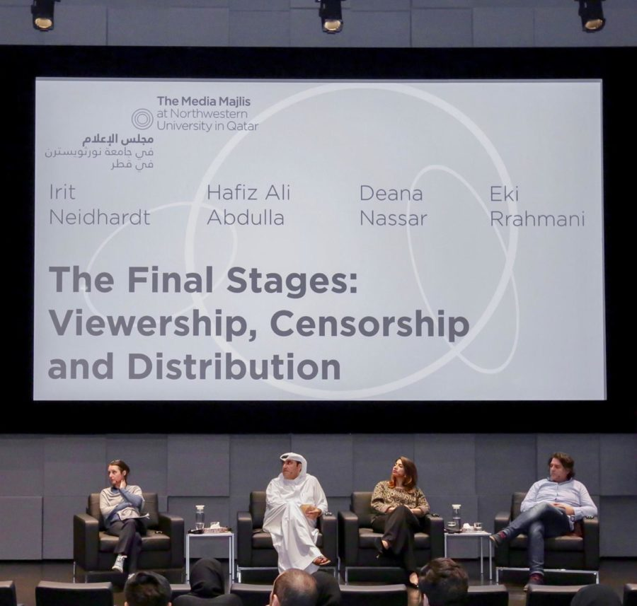 Irit Neidhardt, Hafiz Ali Abdulla, Deana Nassar, and Eki Rrahmani at the panel discussion. Photo credit: Media Majlis Facebook.