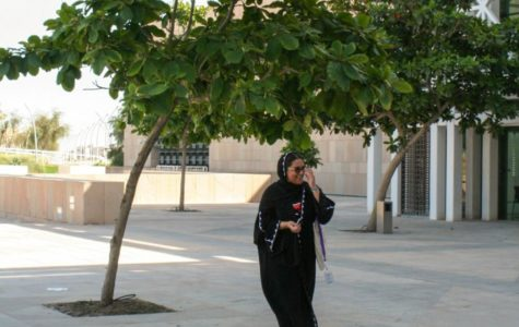 Noora Al-Yafei walking around Education City. Photo by Maryam Gamar.