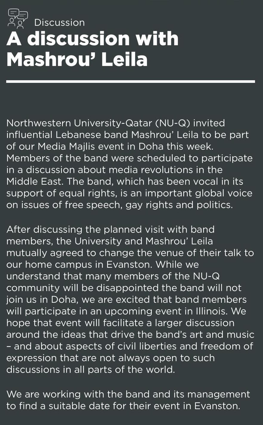 A screenshot of the Media Majlis' official statement on relocating the Mashrou' Leila event to the Evanston campus.