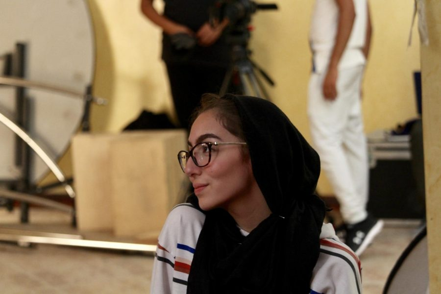 "Danna Takriti on a film set for the short film ""Esh El Barri"" in which she was the art director, Doha in September 2019 (Photo/ Danna Takriti)"